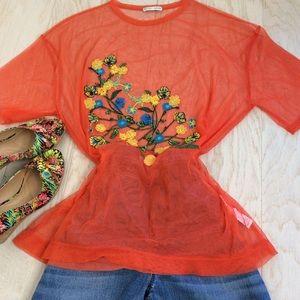⚜️ Zara ⚜️ Sheer Oversized Top Size S/M NWOT